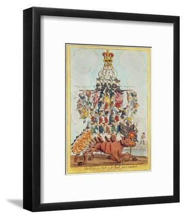 The Pillar of the State, or John Bull Overloaded, after Cruikshank in 1819, 1827-Henry Heath-Framed Premium Giclee Print