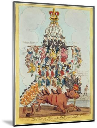 The Pillar of the State, or John Bull Overloaded, after Cruikshank in 1819, 1827-Henry Heath-Mounted Premium Giclee Print