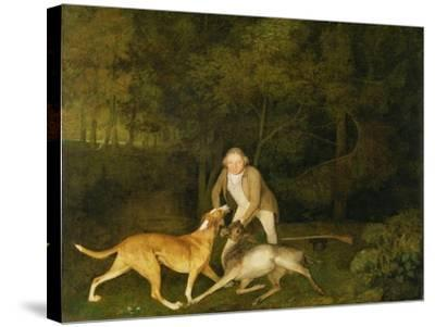 Freeman, the Earl of Clarendon's Gamekeeper, with a Dying Doe and Hound, 1800-George Stubbs-Stretched Canvas Print