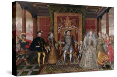 An Allegory of the Tudor Succession: the Family of Henry Viii, C.1589-95 (Oil on Panel)-English-Stretched Canvas Print