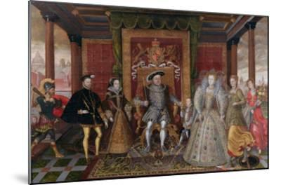 An Allegory of the Tudor Succession: the Family of Henry Viii, C.1589-95 (Oil on Panel)-English-Mounted Giclee Print
