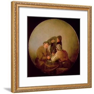 Three Peasants Drinking and Smoking in an Interior-Adriaen Jansz^ Van Ostade-Framed Giclee Print