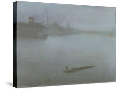 Thames - Nocturne in Blue and Silver, c.1872/8-James Abbott McNeill Whistler-Stretched Canvas Print