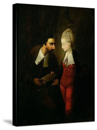Portia and Shylock from 'The Merchant of Venice' Act IV, Scene I, c.1778-Edward Alcock-Stretched Canvas Print
