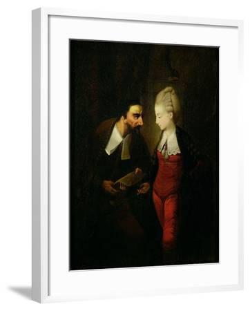 Portia and Shylock from 'The Merchant of Venice' Act IV, Scene I, c.1778-Edward Alcock-Framed Giclee Print