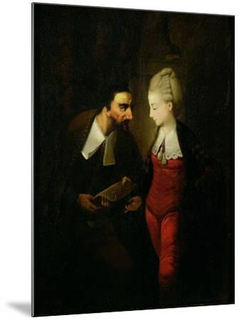 Portia and Shylock from 'The Merchant of Venice' Act IV, Scene I, c.1778-Edward Alcock-Mounted Giclee Print