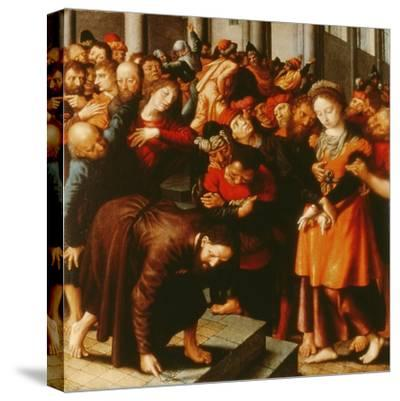 Christ and the Woman Taken in Adultery (Oil on Panel)-Jan Sanders van Hemessen-Stretched Canvas Print