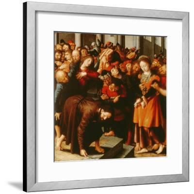 Christ and the Woman Taken in Adultery (Oil on Panel)-Jan Sanders van Hemessen-Framed Giclee Print