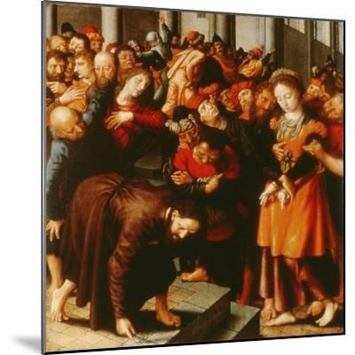 Christ and the Woman Taken in Adultery (Oil on Panel)-Jan Sanders van Hemessen-Mounted Giclee Print