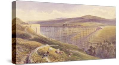 Belah Viaduct, 1869 (W/C and Gouache with Pen and Ink on Paper)-John Osborn Brown-Stretched Canvas Print