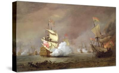 Sea Battle of the Anglo-Dutch Wars, c.1700-Willem Van De, The Younger Velde-Stretched Canvas Print