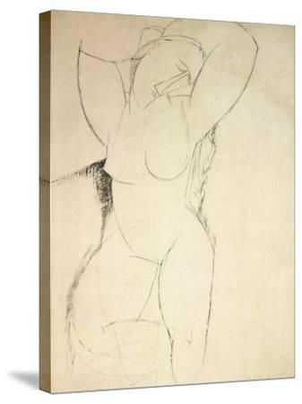 Caryatid, C.1913-14 (Pen and Ink on Paper)-Amedeo Modigliani-Stretched Canvas Print