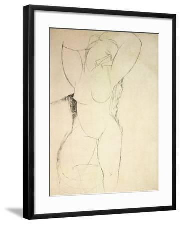 Caryatid, C.1913-14 (Pen and Ink on Paper)-Amedeo Modigliani-Framed Giclee Print