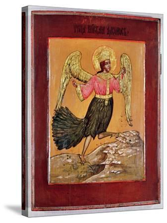 Icon Depicting the Bird of Paradise (Oil on Panel)-Russian-Stretched Canvas Print
