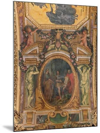 Judicial Reformation in 1667, Ceiling Painting from the Galerie Des Glaces-Charles Le Brun-Mounted Giclee Print