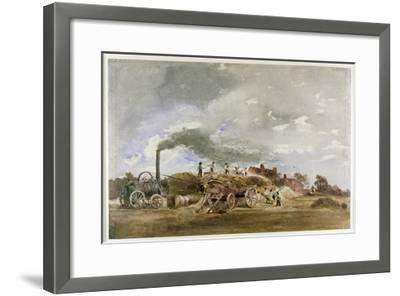 Threshing Corn (Pencil and W/C on Paper)-Peter De Wint-Framed Giclee Print