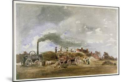 Threshing Corn (Pencil and W/C on Paper)-Peter De Wint-Mounted Giclee Print