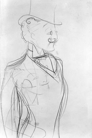 Portrait of Boni De Castellane (Pencil on Paper)-Sem-Stretched Canvas Print
