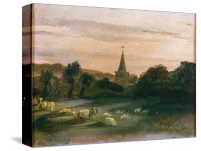 Stoke Poges Church (Oil on Panel) (Recto of 261372)-Thomas Churchyard-Stretched Canvas Print