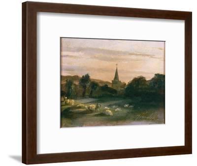 Stoke Poges Church (Oil on Panel) (Recto of 261372)-Thomas Churchyard-Framed Premium Giclee Print