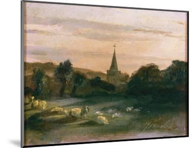 Stoke Poges Church (Oil on Panel) (Recto of 261372)-Thomas Churchyard-Mounted Premium Giclee Print