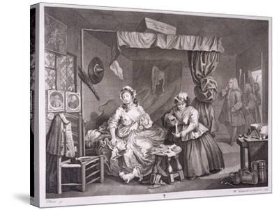 A Harlot's Progress, Plate Iii, from 'The Original and Genuine Works of William Hogarth'-William Hogarth-Stretched Canvas Print