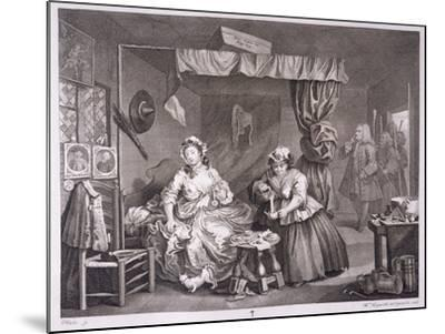 A Harlot's Progress, Plate Iii, from 'The Original and Genuine Works of William Hogarth'-William Hogarth-Mounted Giclee Print