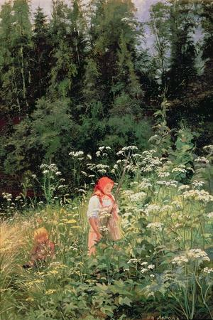 Girl Among the Wild Flowers, 1880-Olga Antonova Lagoda-Shishkina-Stretched Canvas Print
