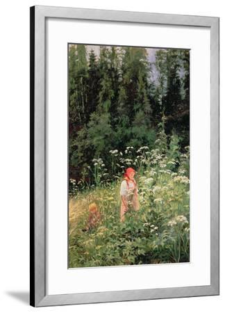 Girl Among the Wild Flowers, 1880-Olga Antonova Lagoda-Shishkina-Framed Giclee Print