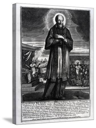 Saint Francois De Sales (1568-1622) (Engraving) (B/W Photo)-French-Stretched Canvas Print