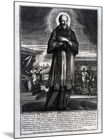 Saint Francois De Sales (1568-1622) (Engraving) (B/W Photo)-French-Mounted Giclee Print
