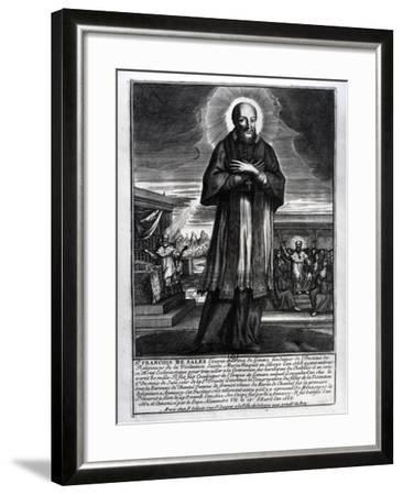 Saint Francois De Sales (1568-1622) (Engraving) (B/W Photo)-French-Framed Giclee Print