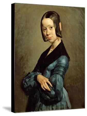 Pauline Ono (1821-44) in Blue, 1841-42-Jean-Fran?ois Millet-Stretched Canvas Print