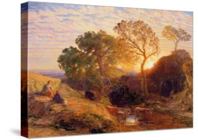 Sunset, C.1861 (W/C, Graphite, B/C and Gum on Card)-Samuel Palmer-Stretched Canvas Print