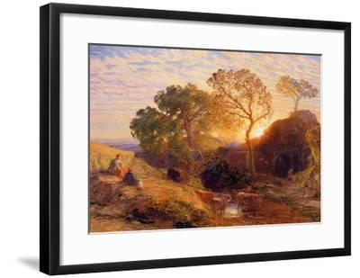 Sunset, C.1861 (W/C, Graphite, B/C and Gum on Card)-Samuel Palmer-Framed Giclee Print