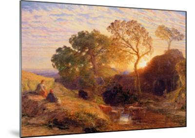 Sunset, C.1861 (W/C, Graphite, B/C and Gum on Card)-Samuel Palmer-Mounted Giclee Print