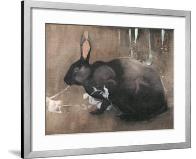 A Black Rabbit (Bodycolour on Linen)-Joseph Crawhall-Framed Giclee Print