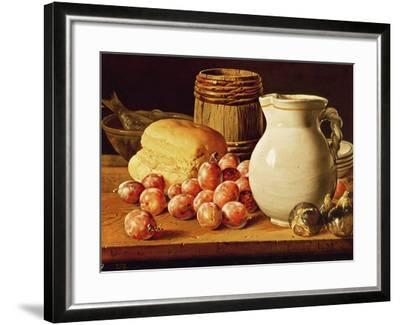 Still Life with Plums, Figs, Bread and Fish-Luis Egidio Melendez-Framed Giclee Print