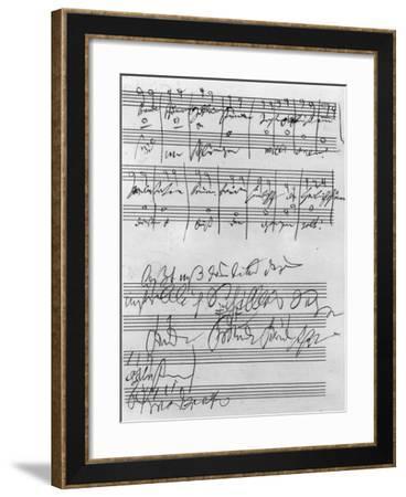 Handwritten Musical Score (Ink on Paper)-Ludwig Van Beethoven-Framed Giclee Print