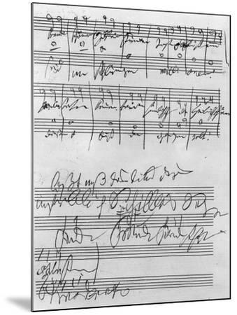 Handwritten Musical Score (Ink on Paper)-Ludwig Van Beethoven-Mounted Giclee Print