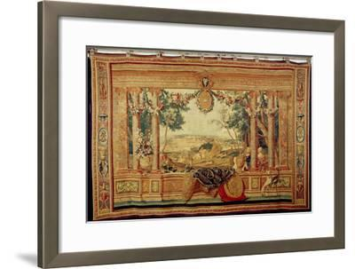 The Month of June/ Chateau of Fontainebleau, from the Series of Tapestries-Charles Le Brun-Framed Giclee Print