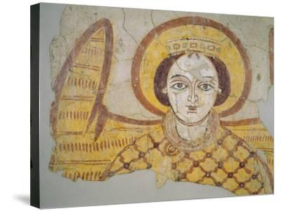 Crowned Archangel with Spread Wings, from the Cathedral of Faras, Sudan (Fresco)- Coptic-Stretched Canvas Print