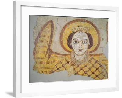 Crowned Archangel with Spread Wings, from the Cathedral of Faras, Sudan (Fresco)- Coptic-Framed Giclee Print