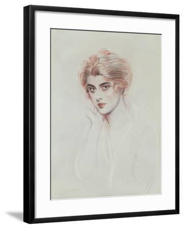 The Artist's Daughter (Coloured Pencil on Paper)-Paul Cesar Helleu-Framed Giclee Print