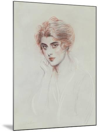 The Artist's Daughter (Coloured Pencil on Paper)-Paul Cesar Helleu-Mounted Giclee Print