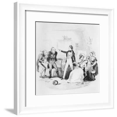 Nicholas Congratulates Arthur Gride on His Wedding Morning, Illustration from `Nicholas Nickleby'-Hablot Knight Browne-Framed Giclee Print
