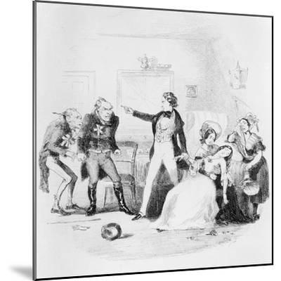 Nicholas Congratulates Arthur Gride on His Wedding Morning, Illustration from `Nicholas Nickleby'-Hablot Knight Browne-Mounted Giclee Print