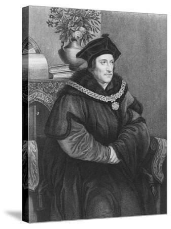 Sir Thomas More (1477-1535) (Engraving)-Hans Holbein the Younger-Stretched Canvas Print