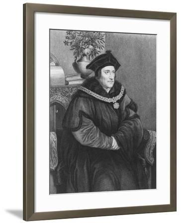 Sir Thomas More (1477-1535) (Engraving)-Hans Holbein the Younger-Framed Giclee Print