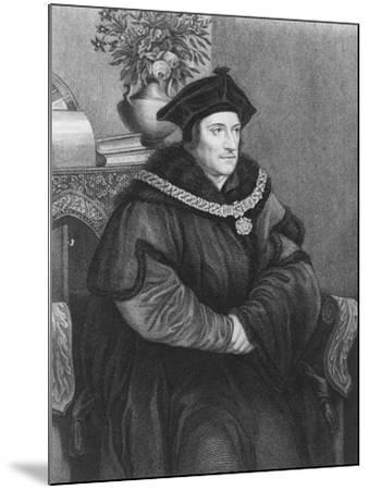 Sir Thomas More (1477-1535) (Engraving)-Hans Holbein the Younger-Mounted Giclee Print